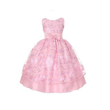 750e8600f14 Little Girls Pink Floral Pattern Accent Sleeveless Easter Flower Girl Dress  6