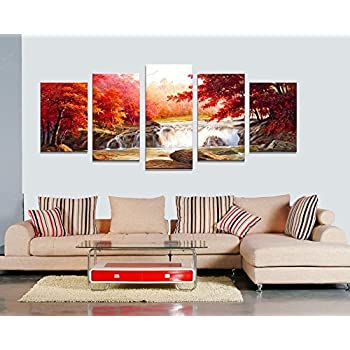 Amazon.Com: Canvas Wall Art Red Woods Waterfall Canvas Print