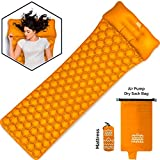 Cheap Inflatable Sleeping Camping Pad for Backpacking – Best Ultralight Camp Mat with Air Pump – Lightweight Portable Sleep Pads with Pillow – Waterproof Outdoor Travel Hiking Survival 75D Air Pad Orange