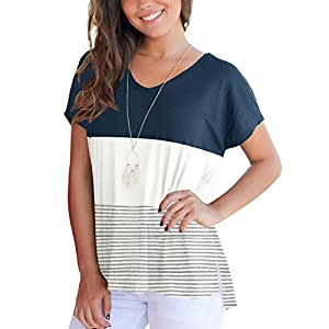 Aliex Women's Tunic Top Casual Long Sleeve T-Shirt Color Block (t, h)