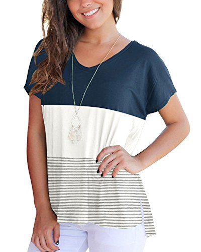 (Aliex Women's Tunic Top Casual Long Sleeve T-Shirt Color Block (t, h))