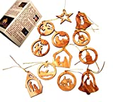 Olive Wood Ornaments - Mix (Set of 12 Flat Ornaments).