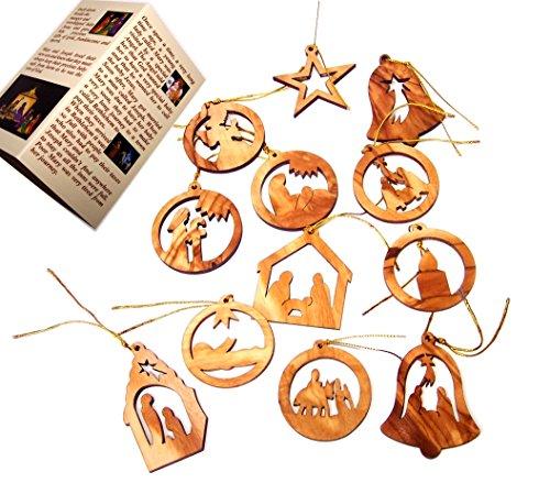 Holy Land Market Olive Wood Ornaments - Mix (Set of 12 Flat Ornaments).]()