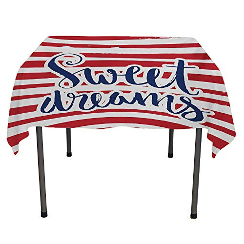 Sweet Dreams Kitchen Tablecloth Vintage Striped Background with Positive Message Nautical Design Red Navy Blue and White Summer tabel Cloth Spring/Summer/Party/Picnic 36 by 36