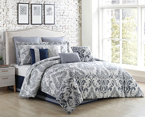 S.L. Home Fashions 10 Piece Mathilda Silver/Gray Comforter Set Cal King