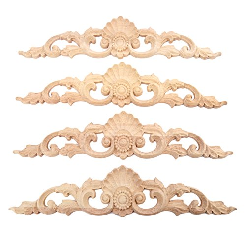 4pcs 30x6.5cm Wood Carved Long Onlay Applique Unpainted Furniture Door European Style