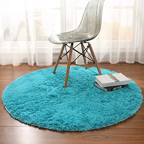 - Noahas 4-Feet Luxury Round Area Rugs Super Soft Living Room Bedroom Carpet Woman Yoga Mat, Blue