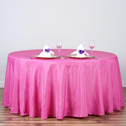 "Efavormart Fushia 120"" Round Polyester Tablecloth"