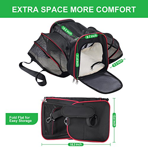 Soft Side Pet Carrier, Pet Carrier for Dogs & Cats, Expandable Soft Pet Carrier with Removable Fleece Mat for Easy Carry on Luggage, Travel Bag for Small Animals, Portable Handbag, Black by wot i (Image #4)