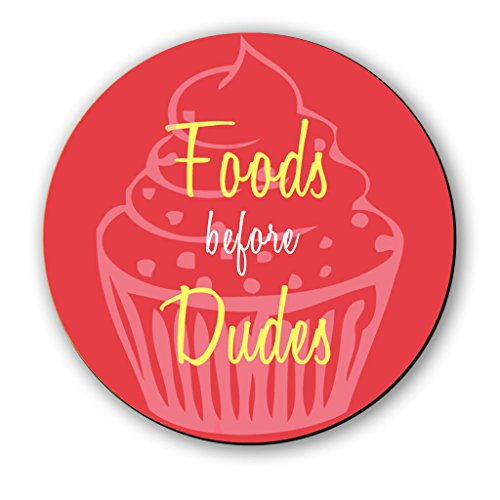 Seven Rays Wooden Foods Before Dudes Fridge Multipurpose Magnet  3x3 Inch, Multicolour