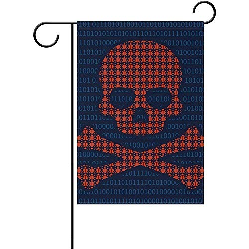 Computer Virus Infection Skull Seasonal Holiday Garden Yard House Flag Banner 12 x 18 inches Decorative Flag for Home Indoor Outdoor Decor -