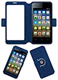 Acm SVIEW Window Designer Rotating Flip Flap Case for Micromax Bolt A067 Mobile Smart View Cover Stand Blue