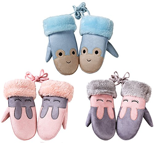 3-Pack Kids Girls Boys Cartoon Suede Fleece Lined Mittens Gloves with String for Toddler 3-8 Years