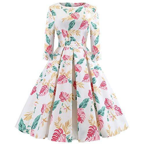 Sunyastor Women Dresses,Elegant Women's Vintage Print Long Sleeve Pleated Dresses Christmas Evening Party Swing Dress ()