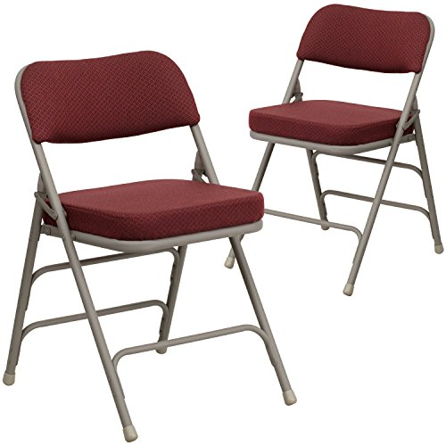 Flash Furniture 2 Pk. HERCULES Series Premium Curved Triple Braced & Double Hinged Burgundy Fabric Metal Folding Chair ()