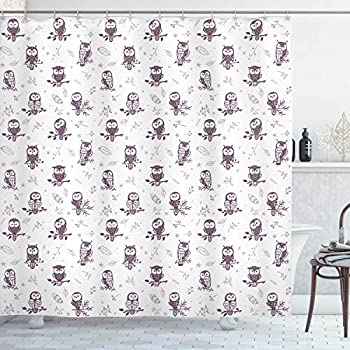 Ambesonne Owl Shower Curtain, Cartoon Style Illustration of Owls on The Branches Mysterious Woods Print, Cloth Fabric Bathroom Decor Set with Hooks, 70