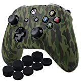YoRHa Water Transfer Printing Camouflage Silicone Cover Skin Case for Microsoft Xbox One X & Xbox One S controller x 1(forest) With PRO thumb grips x 8 For Sale