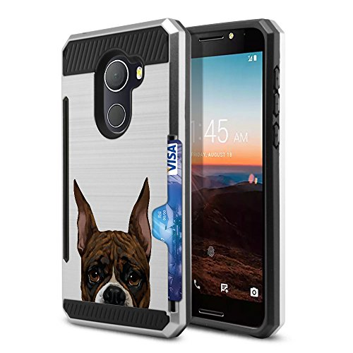 FINCIBO Case Compatible with Alcatel Revvl / A30 Fierce 2017 / Walters 5.5 inch, Dual Layer Brushed Hybrid Protector Cover Anti Shock TPU Card Wallet for Alcatel Revvl - Brindle Pattern Boxer Dog ()