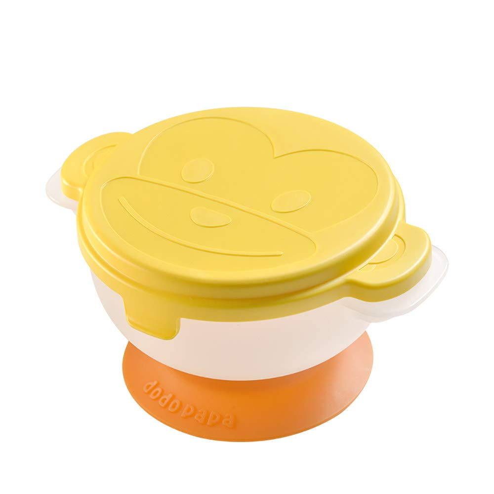 ZZKJLYN Baby Kids Grinding Bowls Learn Dishes Handmade Grinding Tool Food Fruit Supplement Children Infant Food Mills,Yellow