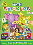 School Zone - Math Stickers Workbook - Ages 3 to 6, Grades Preschool through Kindergarten, Counting, Numbers, and Basic Math