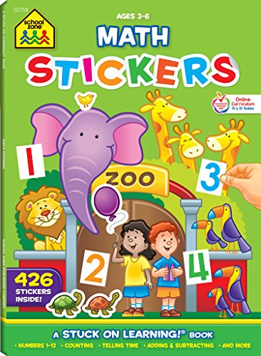 School Zone - Math Stickers Workbook - 64 Pages, Ages 3 to 6, Preschool to Kindergarten, Counting, Numbers, and Basic Math (School Zone Stuck on Learning® Book Series) -
