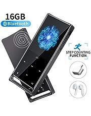 Mymahdi Reproductor de MP3, Bluetooth sin pérdida de 16 GB, Radio FM/Paso a Paso/Graba con una Sola tecla, Máx. hasta 128 GB, Negro
