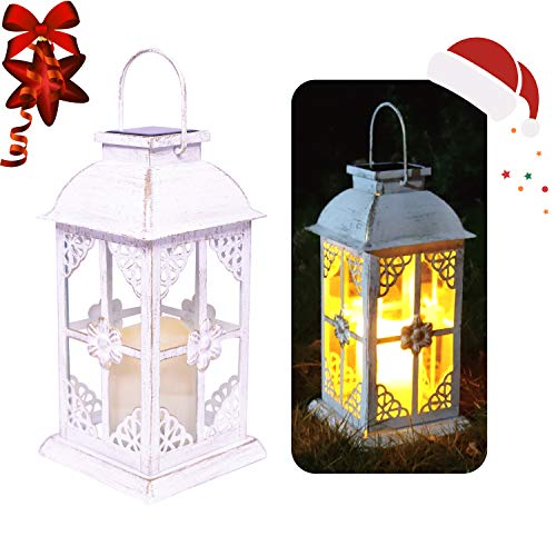Solar Lantern Outdoor Hyacinth White Decor Antique Metal and Glass Construction Mission Solar Garden Lantern Indoor and Outdoor Solar Hanging Lantern Entirely Solar Powered Lantern of Low Maintenance -
