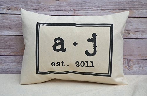 Personalized Pillow with Couples initials plus sign and Establishment date Romantic cotton 2nd anniversary gift vintage text