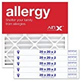 AIRx Filters Health 20x20x2 Air Filter MERV 13 AC Furnace Pleated Air Filter Replacement Box of 6, Made in the USA