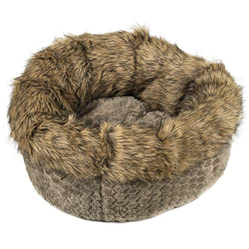 Ador-A-Pet Luxury Small Dog Bed. Faux Fur deep Donut Cuddler Bagel Bed.23inch Plush, Quality Filling,self Warming.High Sides Provide Orthopedic Support, Fully Washable,Zippered Insert,Non Slip Base ()