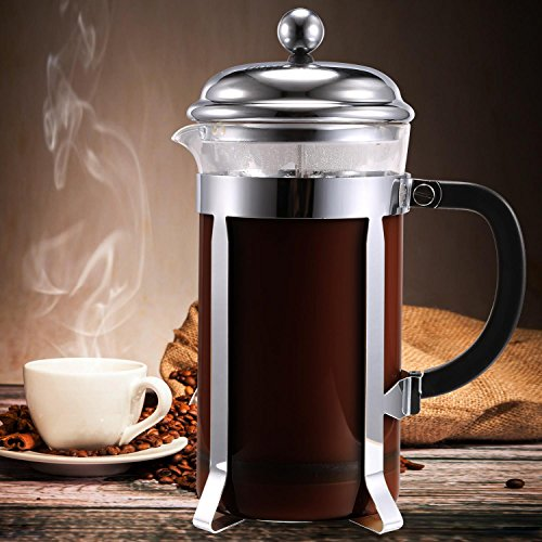 Price comparison product image Creine French Espresso Coffee Maker and Tea Infuser Stainless Steel Filter Glass Container Heat-Resisting 1000ML/8 Cups