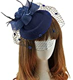 Fascinator Hair Clip Pillbox Hat Bowler Feather Flower Veil Wedding Party Hat (Navy Blue)
