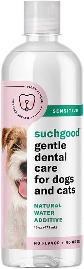 Suchgood Gentle Natural Water Additive for Pets | Easy Brushless Dental Care for Sensitive Dogs and Cats | Made in The USA with Premium Ingredients for Whole Mouth Health