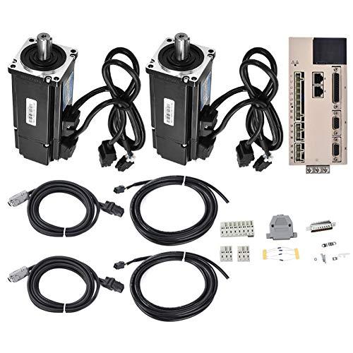 Servo Motor, Servo Drive Motor Kit 1Pc Driver + 2Pcs Servo Motor 400W 1.27Nm Ac220V 3000Rpm