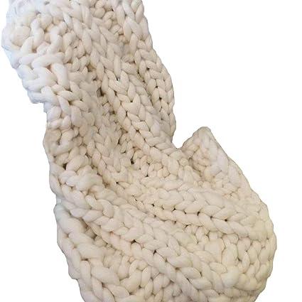 Amazon 40x40in Handmade Wool Yarn Chunky Knit BlanketCream Beauteous Cream Chunky Throw Blanket