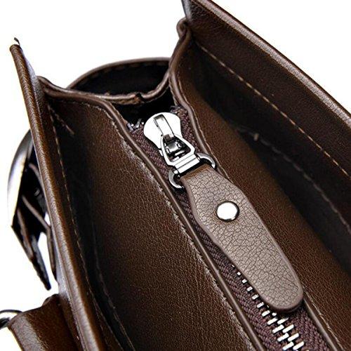 Bolso Del Hombre De Bolso De Mano Maletín Viajes De Negocios Sección Vertical Bolsa De Mensajero Brown