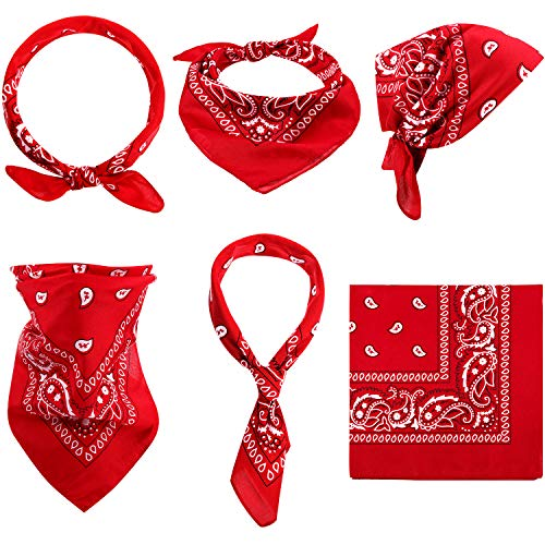 Paisley Bandanas Cowboy Bandanas Unisex Novelty Print Head Wrap Scarf Wristband for Adults and Kids (Red, 6 Pieces)