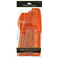 Amscan Assorted Plastic Cutlery | Orange Peel | Pack of 24 | Party Supply - 4546.05