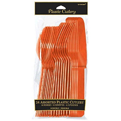 Amscan 4546.05 Plastic Cutlery, 24 pieces, Orange