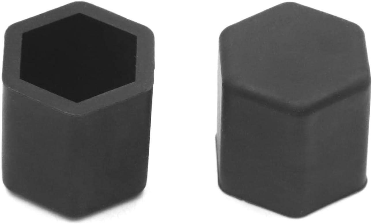 FOTN 15mm Gummi-Auto-Rad-Reifen Reifen Mutter Schraube Abdeckkappen Hub-Schutz-Schwarz-20pcs
