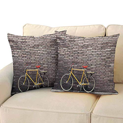 (FCIEBP Bicycle Slip Pillowcase Silk Past Times Aesthetic Road Bike Lean Brick Wall Outdoor Daily Town Life Photo W18xL18 Grey Yellow Red )