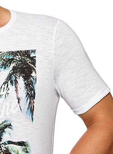 T 1052p Ultra Bianco Spiaggia shirt Uomo Oodji Stampa OvBwFUq