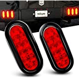 """Nilight TL-01 6"""" Oval Red LED Tail 2PCS w/Surface Mount Grommets Plugs IP67 Waterproof Stop Brake Turn Trailer Lights for RV Truck Jeep, 2 Years Warranty"""