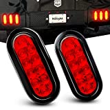 """Nilight TL-01 6"""" Oval Red LED Tail 2PCS w/Surface Mount Grommets Plugs IP67 Waterproof Stop Brake Turn Trailer Lights for RV Truck Jeep, 2 Years Warranty: more info"""
