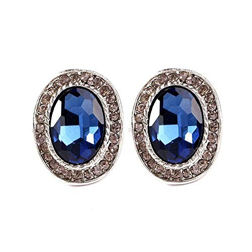 - Stud Earrings - 1 Pair Women Fashion Pretty Blue Rhinestone Pendant Stud Earrings Geometry Round Circle Earring, Earrings For Women