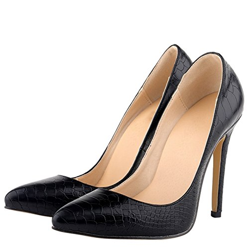 fereshte Women's Fashion Animal Print Stiletto Heels Dress Pumps Black Wogw79Iszs