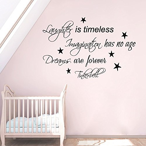 Wall Decals Vinyl Decal Sticker Wording Tinkerbell Quote Laughter Is Timeless Imagination Has No Age Dreams Are Forever Fairy Dust Girl Bedroom Decor Living Room Beauty Salon Home Interior Design Kg889 by tanyastickers