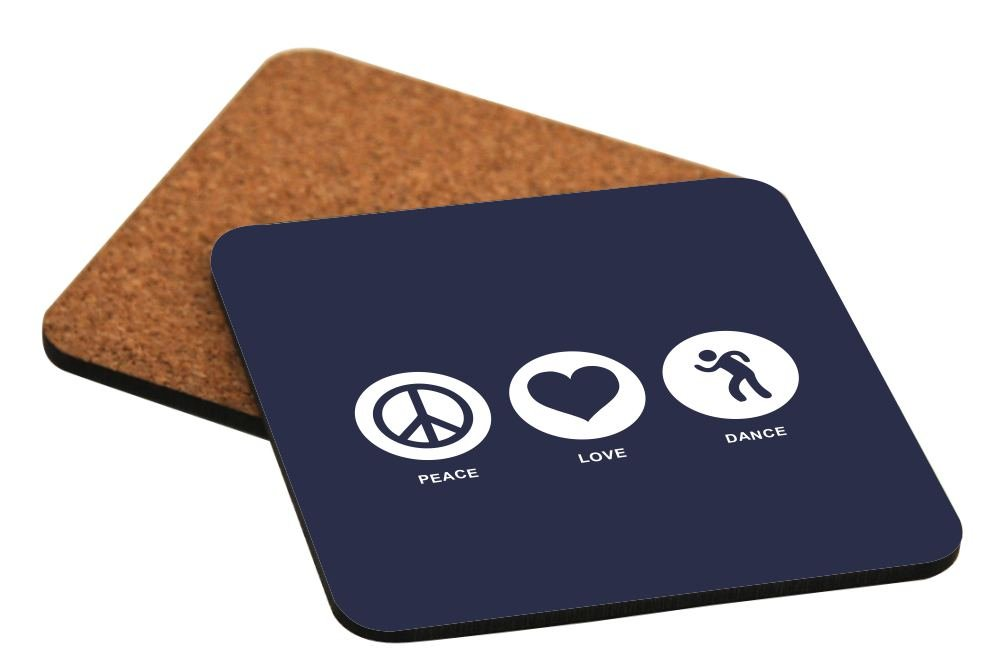 Rikki Knight Peace Love Dance Blue Color Design Cork Backed Hard Square Beer Coasters, 4-Inch, Brown, 2-Pack