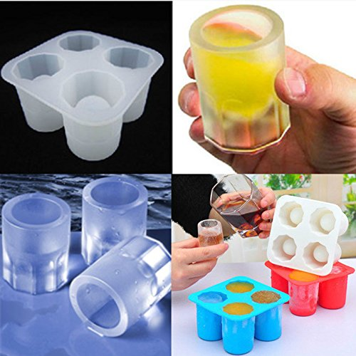 Silicone 4-Cup Ice Mold Cake Tool Tray Chocolate Molds Mould Popsicle Mold Shot Glass Maker Freezer Drink Mixing Shooter Tools