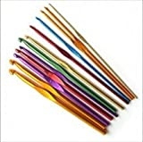 Ostart 12 Sizes Multi-color Aluminum Crochet Hooks Knitting Kits Needles (3mm - 10mm)